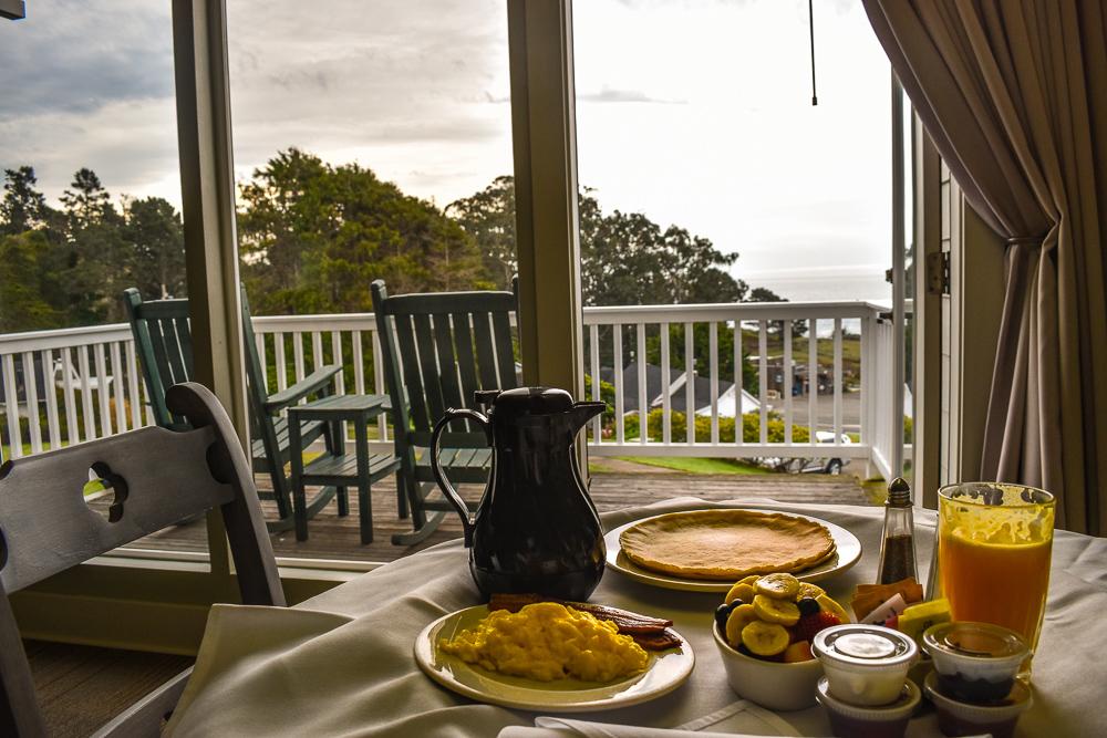 Breakfast in room at Little River Inn in Mendocino California